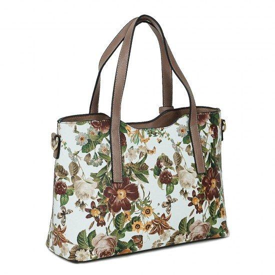 Чанта НВ239 цветя с бежови дръжки