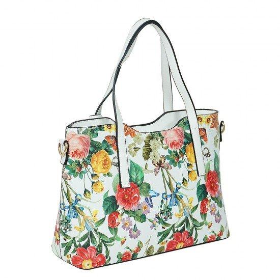 Чанта НВ239 цветя с бели дръжки