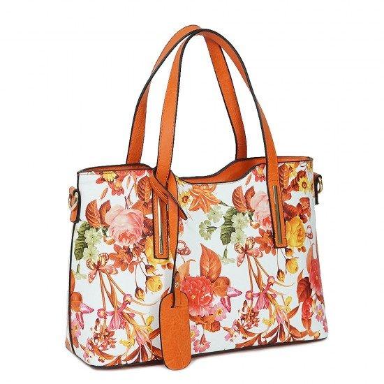 Чанта НВ239 цветя с оранжеви дръжки
