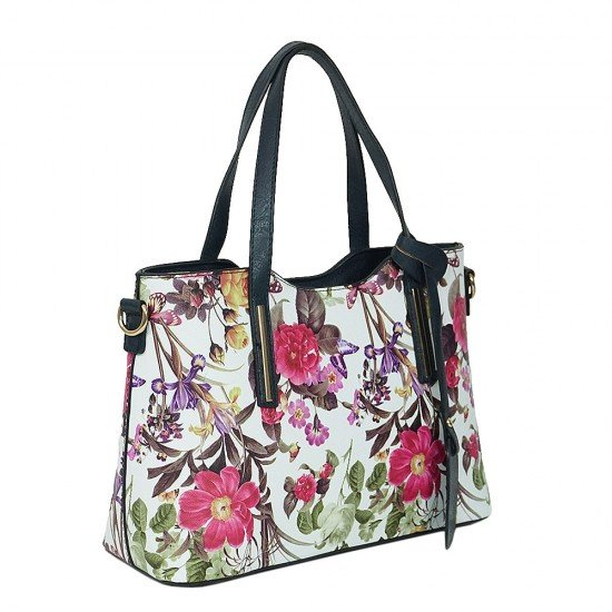 Чанта НВ239 цветя с тъмно сини дръжки