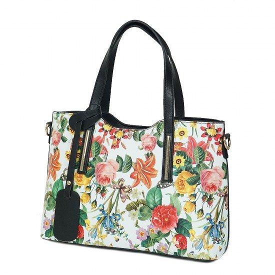 Чанта НВ239 цветя с черни дръжки