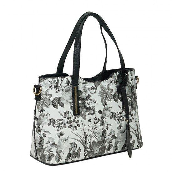 Чанта НВ239 черно-бели цветя