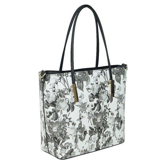 Чанта НВ888 голяма с черно-бели цветя