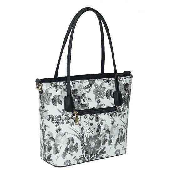 Чанта НВ888 малка с черно-бели цветя