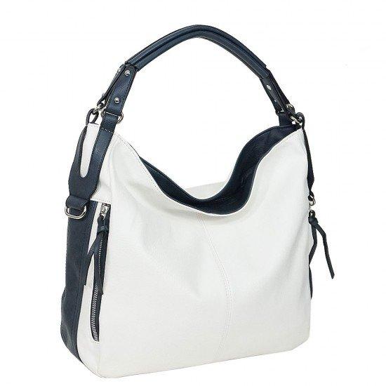 Чанта НВ038 бяла с тъмно сини дръжки