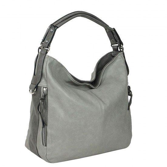 Чанта НВ038 сива с тъмно сиви дръжки