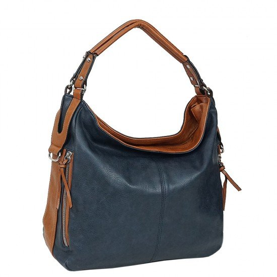 Чанта НВ038 тъмно синя с кафяви дръжки