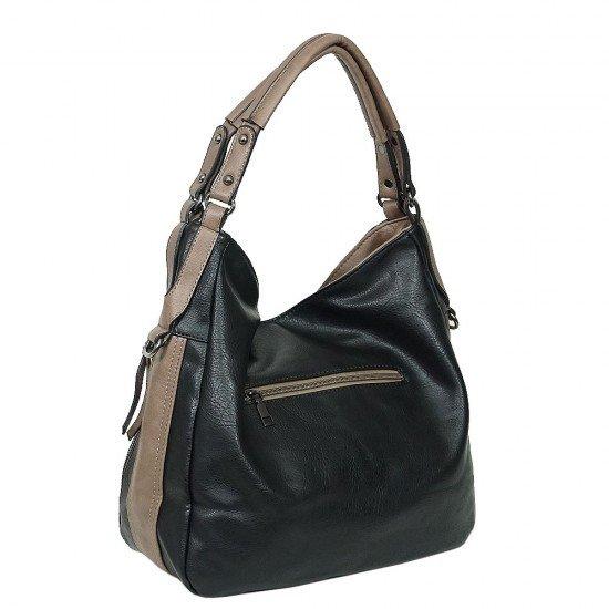 Чанта НВ038 черна с кафяви дръжки