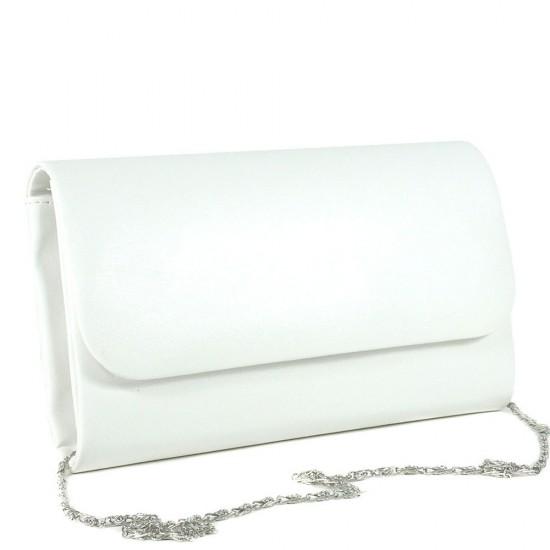 Чанта плик 859бяла кожа