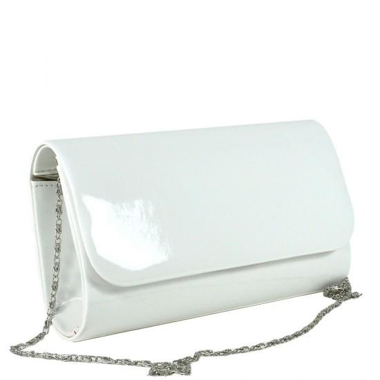 Чанта плик 859бял лак